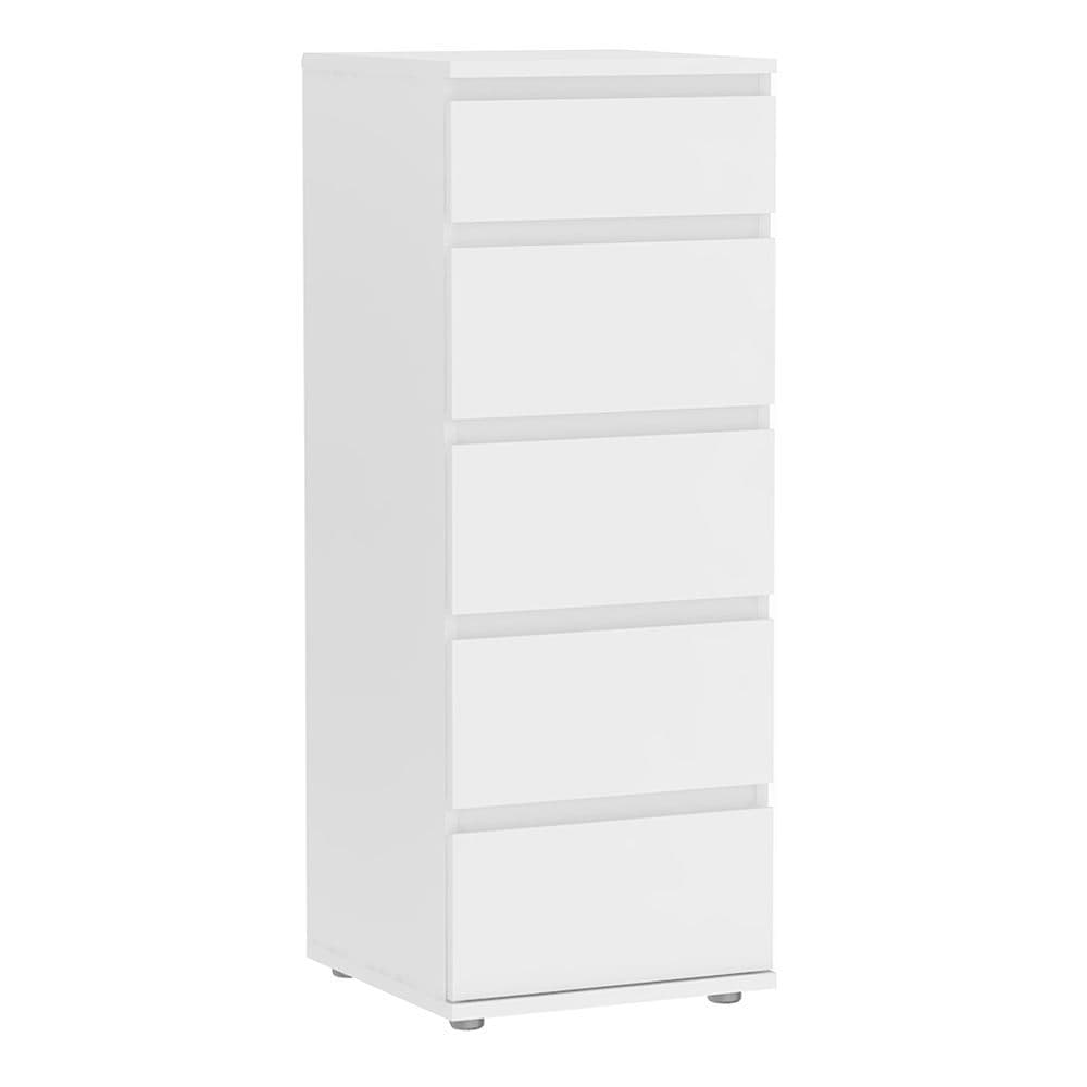 Orson Narrow Chest of 5 Drawers in White